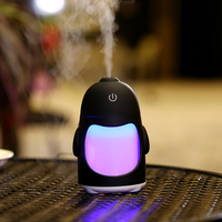 USB Penguin Humidifiers With 7 Color LED Light Air Ultrasonic Humidifier Essential Oil Diffuser Mist Maker