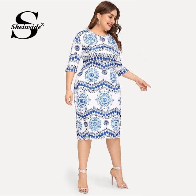 Sheinside Plus Size Elegant Porcelain Print Summer Dress Women 2019 Casual Half Sleeve Trim Midi Dresses Ladies Bodycon Dress 3