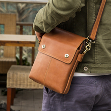 JMD Vintage Genuine Cow Leather Brown Sling Bag Mens Messenger Bags With Flap 1006B