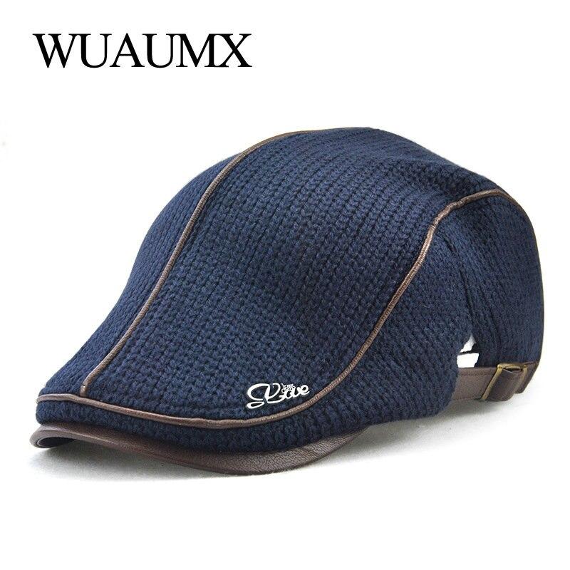 Wuaumx Otoño Invierno Crochet hebilla de la boina sombreros para hombres  Beret Cap mujeres viseras militares espesar lana punto  aa1b47e373f