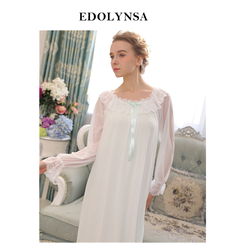Nightgowns Sleepshirts Sleepwear Solid Nightgown Lace Home Dress ...