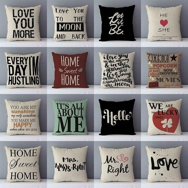 """פופולרי ביטוי מילות אותיות מודפס ספה כרית בית דקורטיבי כריות 45x45 cm כותנה פשתן כיכר כריות """"אהבה אתה יותר"""""""