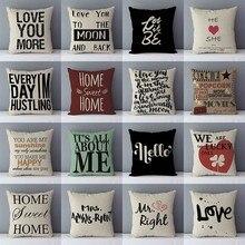 Palabras populares letras impresas sofá cojín hogar decorativo almohadas 45x45cm algodón Lino cuadrado cojines