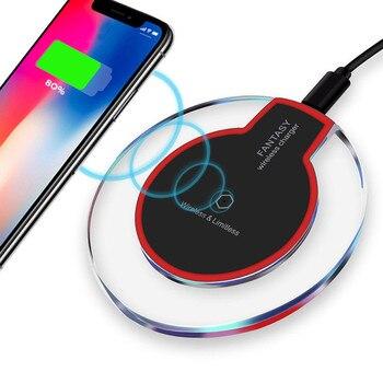 Cargador inalámbrico almohadilla de carga redonda de cristal para iPhone X Xs Max XR 8 Plus Samsung Galaxy Note 8 S8 S7 S6 Edge dispositivo habilitado para Qi