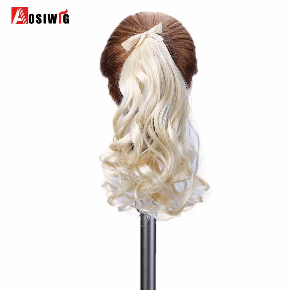 Synthetic Drawstring Extensions Claw on Ponytails Clip In Hair Extensions Hair Pieces for Women Fake Hair Heat Resistant AOSIWIG