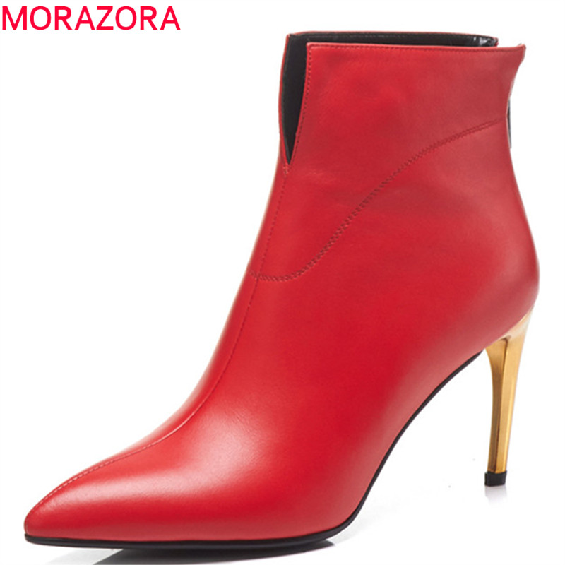 MORAZORA 2019 top quality genuine leather ankle boots for women pointed toe zipper autumn high heels shoes ladies booties MORAZORA 2019 top quality genuine leather ankle boots for women pointed toe zipper autumn high heels shoes ladies booties