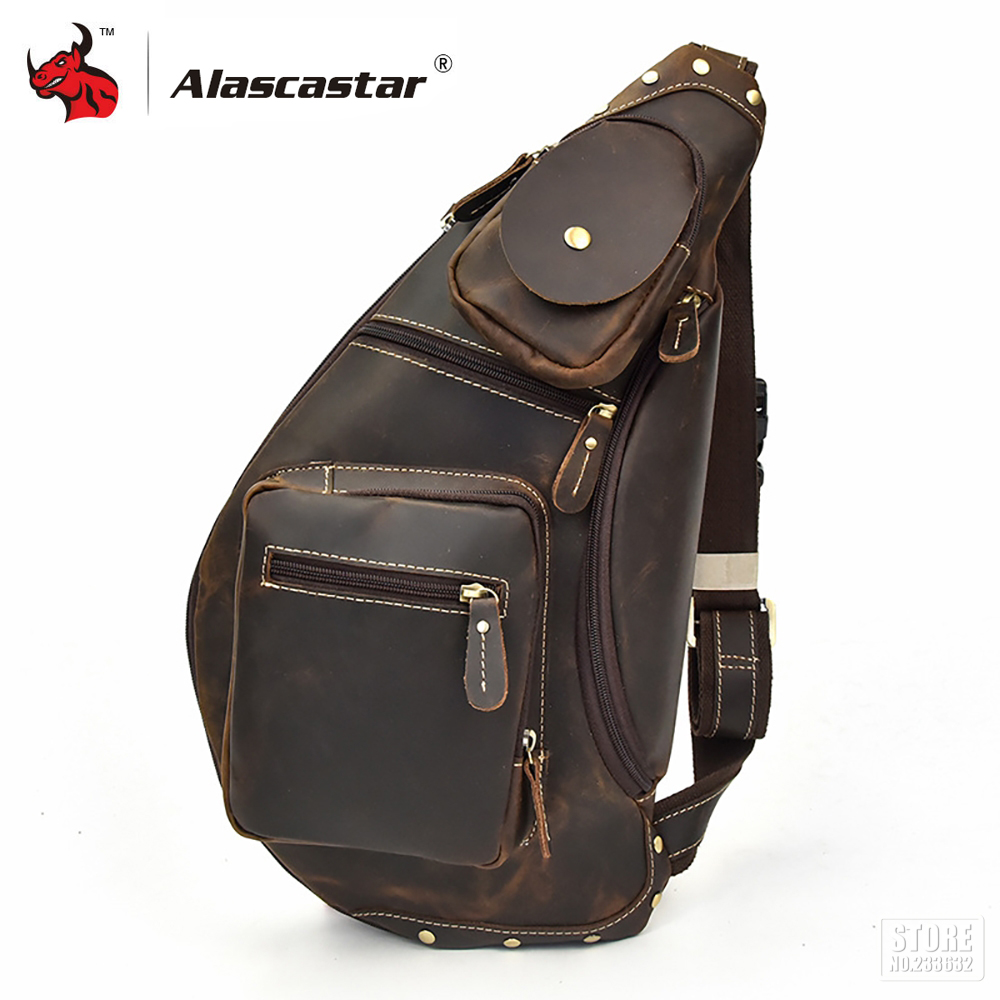 Motorcycle Bag Small Shoulder Chest Bags Full Grain Cow Leather Messenger Bags Retro Vintage Crossbody Chest Bags motorcycle bags full grain cow leather shoulder bags men messenger bag retro vintage crossbody bags