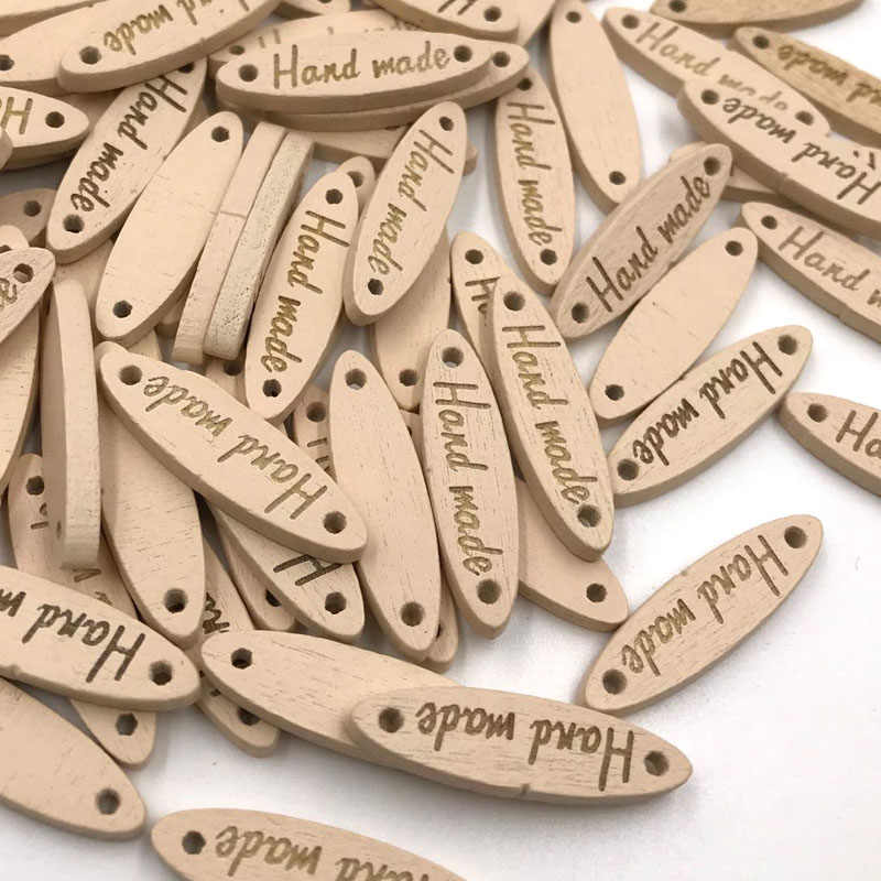 """50pcs/Set Wooden Button """"Hand Made"""" Letters Carved Wood Button Sewing Accessories For Clothes Decoration Handmade DIY Craf WB427"""