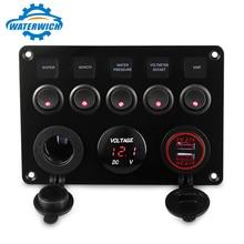 WATERWICH 5 ギャングオン · オフトグルスイッチパネル防水デジタル電圧計 4.2A デュアル USB チャージャー車のマリン RV トラック
