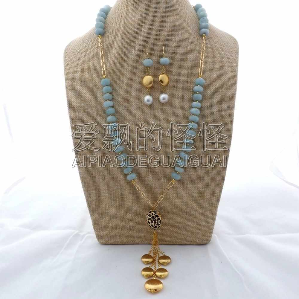 "S121004 27"" Blue Stone & Keshi Pearl Necklace Earrings Set"