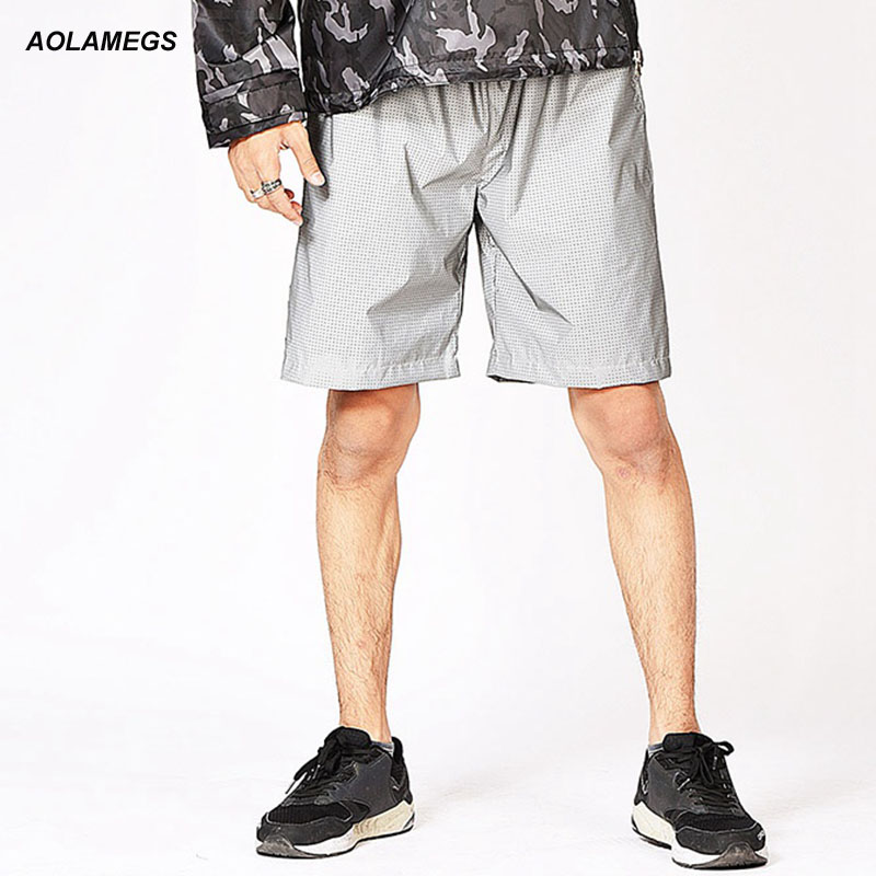Aolamegs men reflective shorts summer hip hop breathable mesh casual male joggers sporti ...
