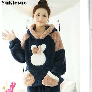 Image 2 - Новинка 2018, осенне зимний фланелевый пижамный комплект для женщин, пижама с капюшоном и медведем, теплая пижама из кораллового флиса, домашняя одежда