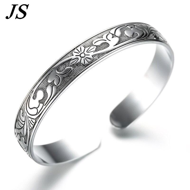 JS Vintage Imitation 999 Silver Bracelet Female Opening Carved Brazalete Boho Cuff Bangl ...