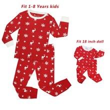 TINOLULING del bambino delle ragazze bambola di natale pigiama set pigiama bambola per 18 pollici per bambini degli indumenti da notte della principessa dei capretti pigiami pigiama