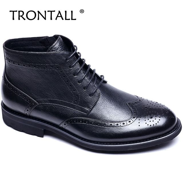 TRONTALL 100% Genuine Leather Cowhide British Style Ankle Boots Lace-up Non-slip Pattern Handmade Men's Shoes Black Brown