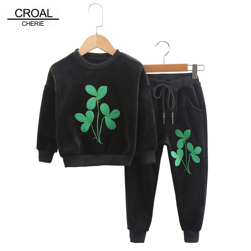CROAL CHERIE 80-130cm 2017 Autumn Flower Kids Boys Girls Clothes Sets Fleece Pullover Baby Clothing Warm Full Sleeve Suits cherie cherie lip balm mint