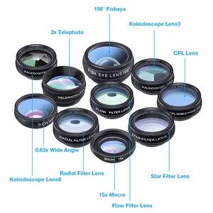 Image 3 - APEXEL 5 pçs/lote 10in1 lPhone CPL Lente Da Câmera Lente Olho de Peixe Lente Macro Lente zoom/Fluxo/Estrela/Caleidoscópio para iPhone 6 7 8 plus x
