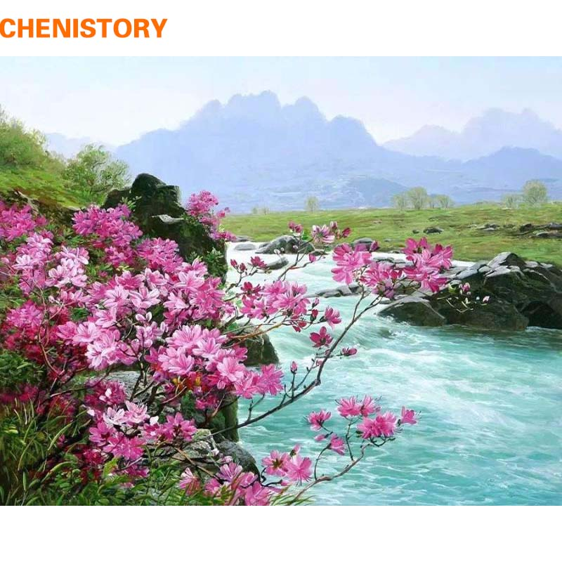 CHENISTORY Romantic River Landscape DIY Lukisan Dengan Angka Kit Cat Akrilik Pada Kanvas Handpainted Home Wall Decor Gambar Seni