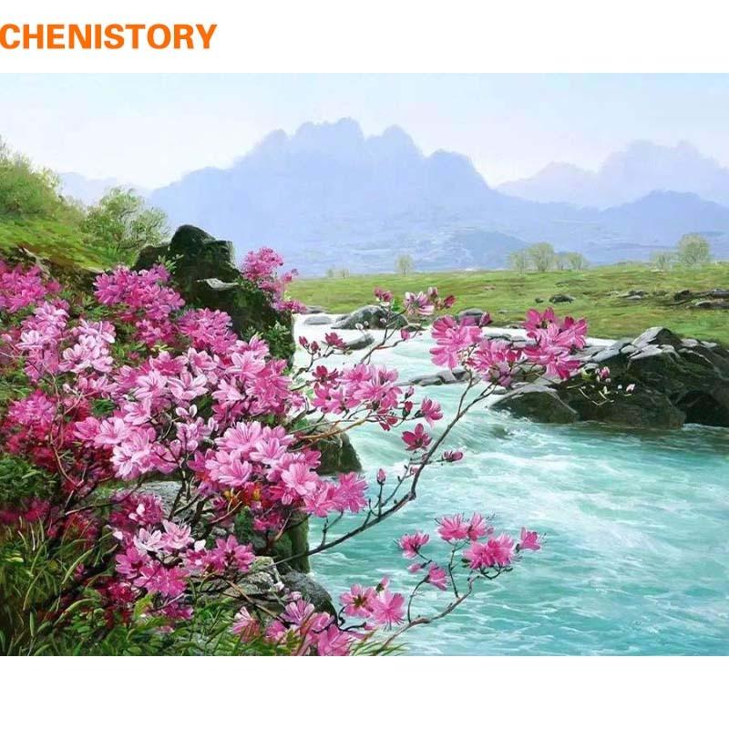 Chenistory romantico fiume paesaggio diy pittura by numbers kit pittura acrilica su tela dipinto a mano casa decorazione della parete di arte immagine