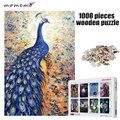MOMEMO Der Blaue Pfau Muster Jigsaw 1000 stücke Holz Puzzle für Erwachsene Unterhaltung Puzzle Spielzeug Kinder Pädagogisches Spielzeug