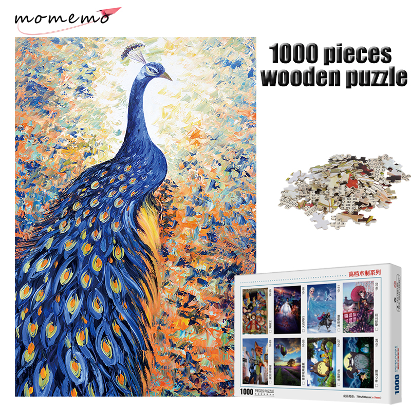 MOMEMO The Blue Peacock Pattern Jigsaw 1000 Pieces Wooden Puzzle for Adult Entertainment Puzzle Toys Children Educational Toys