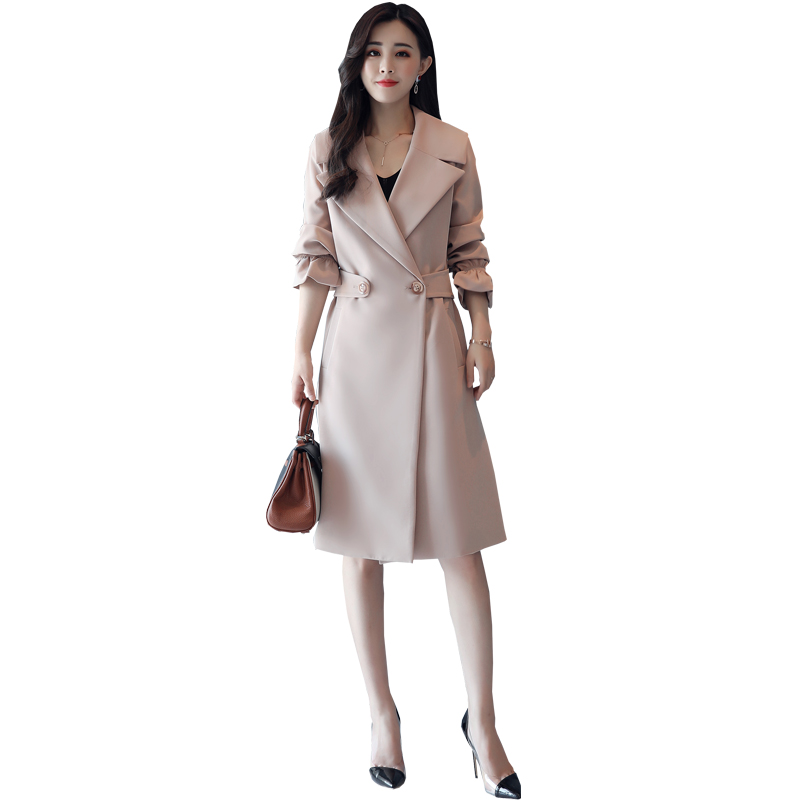Women's   Trench   Coat Plus Size Spring New Medium Long Female Slim Windbreaker Solid Elegant Casual Long Sleeve Outerwear 5 Colors