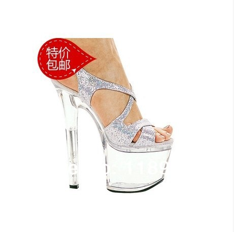 New 2016 European and American Large size ultra thin high heels 15/18cm transparent crystal with sandals wedding shoes