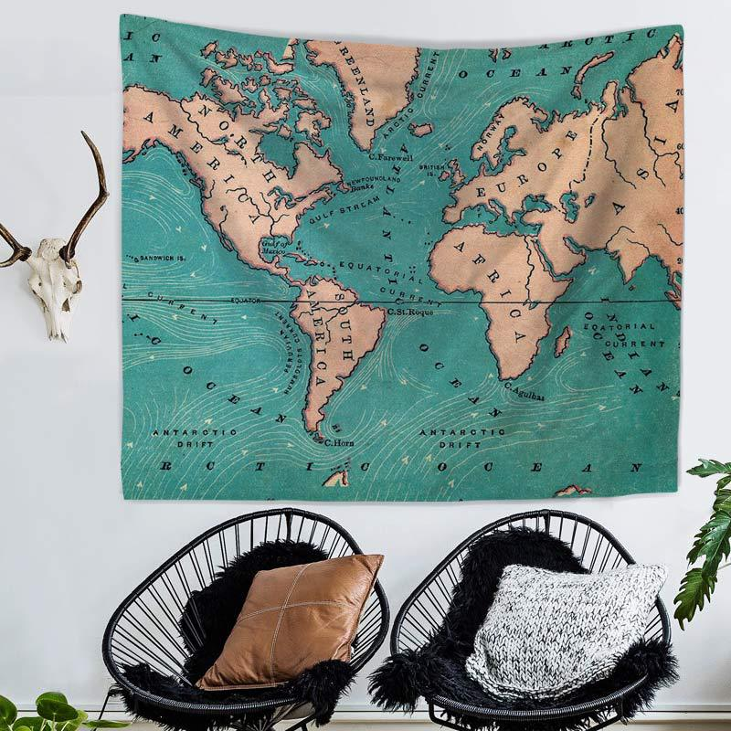 Retro Colorful World Map Pattern Tapestry Beach Table Cloth Hippie Blanket Wall Hanging Yoga Mat Scenery Decoration
