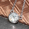 Sólido 18 K 750 Ouro Branco 1 Carat ct Não Menos Do Que GH Cor Solitare Moissanite Lab Grown Diamante Pingente de Colar de Jóias Finas