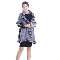 Lady Fashion Autumn Winter Cashmere Wraps with Rex Rabbit Fur Trimming Women Fur Pashmina Shawl Neck Rings LF5006