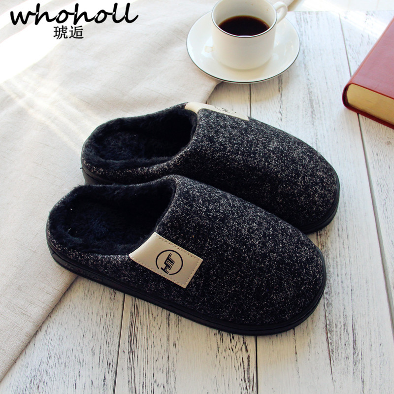 WHOHOLL Short Plush Indoor Home Slippers Women Warm Shoes Comfortable Winter Slippers Unisex Women Shoes Plus Size 37-48
