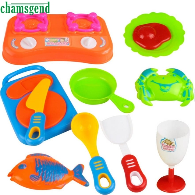 CHAMSGEND 17pcs Plastic Kids Children Kitchen Utensils Food Cooking Pretend  Play Set Toy Toys For Children