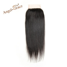 Angel Grace Hair Brazilian Straight Hair Lace Closure Free Part 100% Human Hair Natural Color Remy Hair Free Shipping