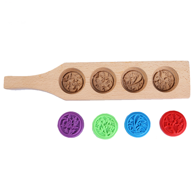 High Quality Home Wooden Moon Cake Mung Bean Cake Mold Pastry Four Holes With Handle Dessert Cake Baking Tools image