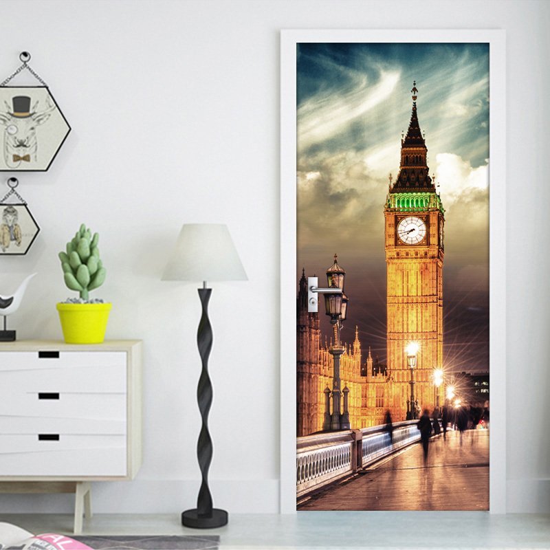 British Big Ben Night View 3D Door Sticker PVC Waterproof Wall Paper Self-adhesive Door Stickers Home Decor Mural De Parede 3D