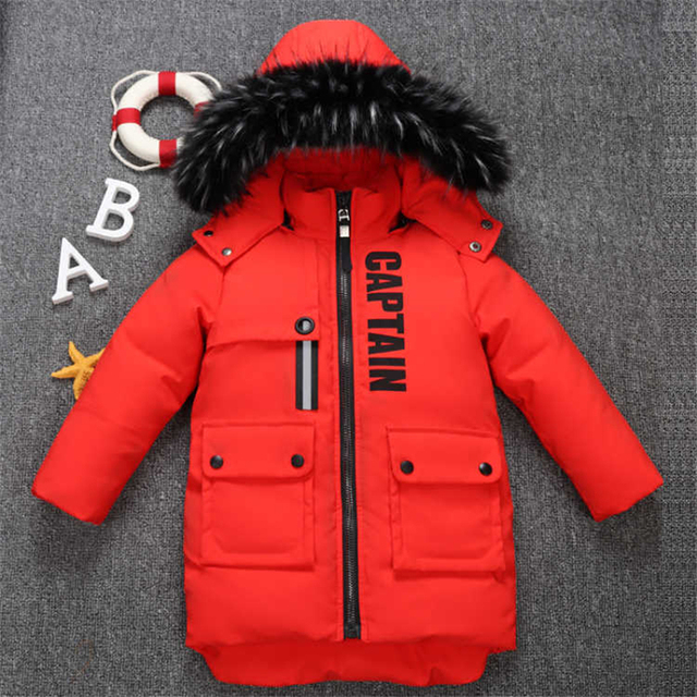 2019 new winter children's clothing children's boy cotton padded warm down jacket in the big boy baby long coat coat 2