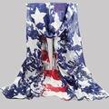 [Визуальной Оси] Синий Цвет Женщины Распечатать Звезда Шарф Женщины Британский Флаг Шарф