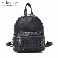 Famous Brand 100% Genuine Leather Women Backpacks Sheepskin Daily Backpack Girl School Bag Rivet Travel Bag Ladies Shoulder Bags