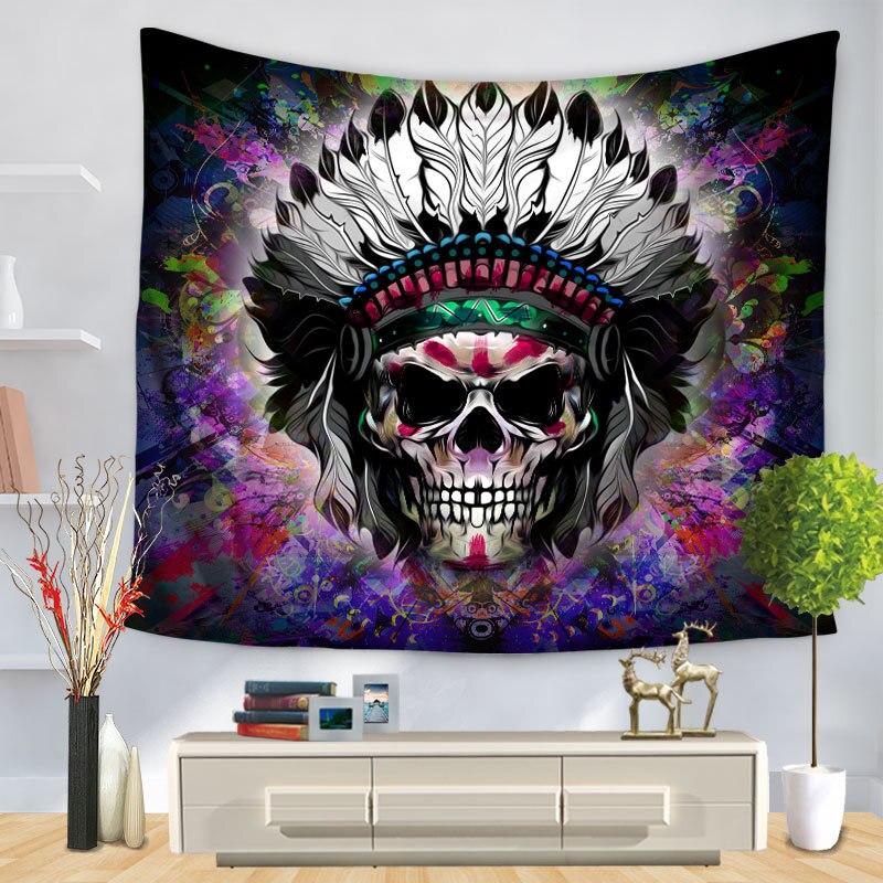 India Mandala Tapestry Wall Hanging Skull Printed Home Decor Tapestries Wall Beach <font><b>Towel</b></font> Blanket Yoga Mats 150*130cm / 150*200cm
