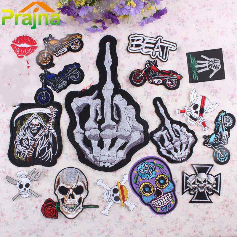 ︻ pcs punk letter ⓪ skull patch biker iron on rock