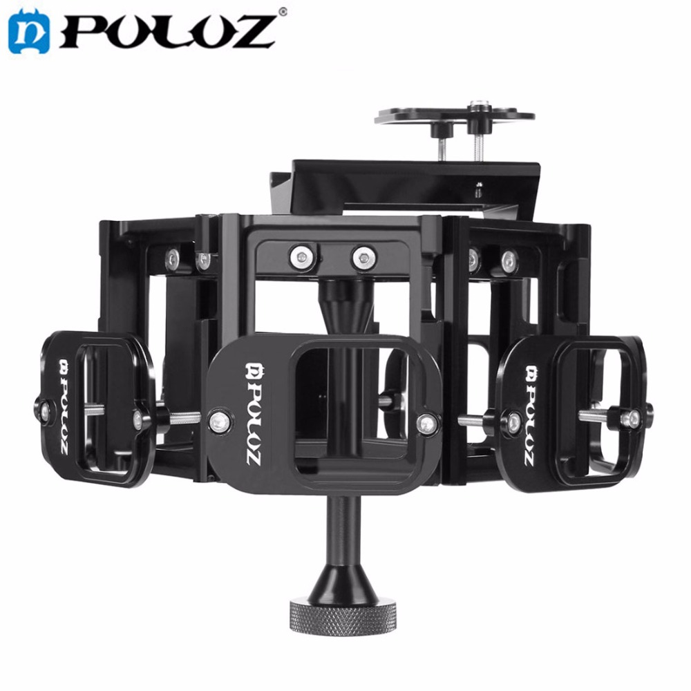 все цены на PULUZ 8 in 1 All View Panorama Frame CNC Aluminum Alloy Protective Cage with Screw for GoPro HERO5 онлайн
