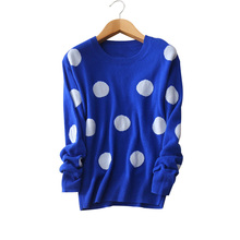 4 colors 100% cashmere white dot sweaters Women's winter/autumn knitting pullovers O-neck long sleeve outwear