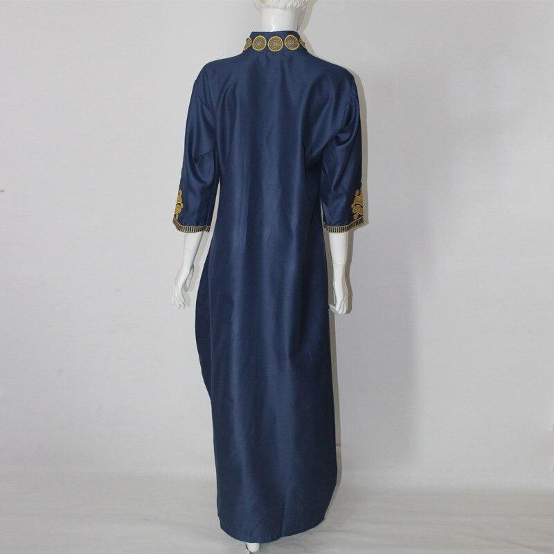 2017 afrika yaz lady maxi dress riche bazin embroiderd gömlek dress - Ulusal Kıyafetler - Fotoğraf 3