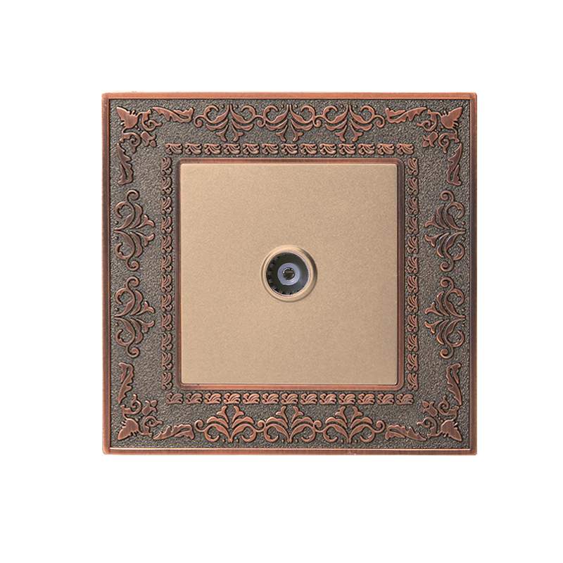 Coswall 4D Embossing Retro Zinc Alloy Panel Luxury Wall TV Socket AC 110~250V