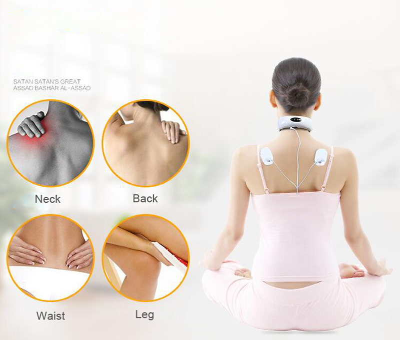 Electric Pulse Back and Neck Massager Far Infrared Heating Pain Relief Tool Health Care Relaxation Body Massager in Massage Relaxation from Beauty Health