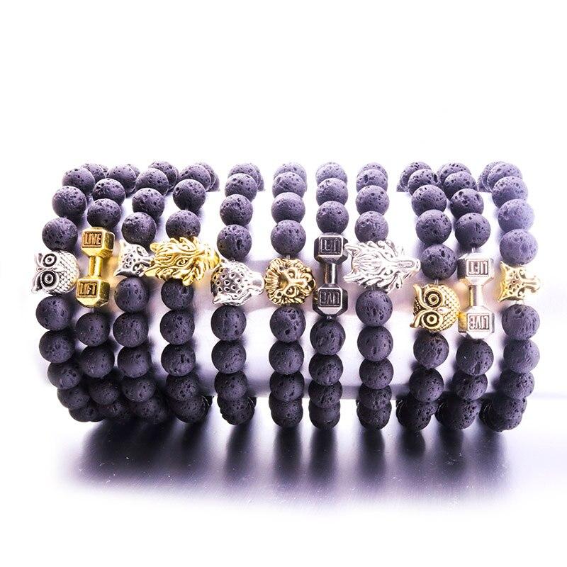 8MM Black Lava Stone Bead Bracelet Diy Aromatherapy Essential Oil Diffuser Bracelet Jewelry Men Jewelry