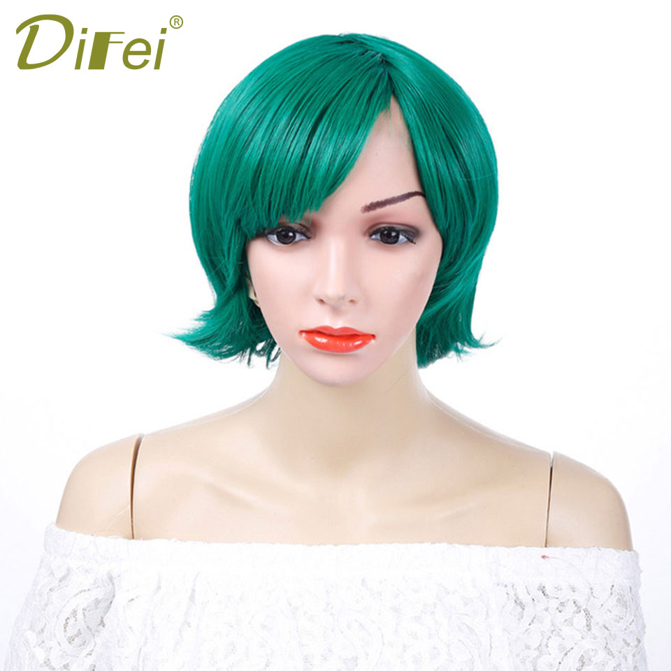 Green Short Straight Wig Costume Party 9 Colors Fashion Synthetic Hair High Temperature  ...