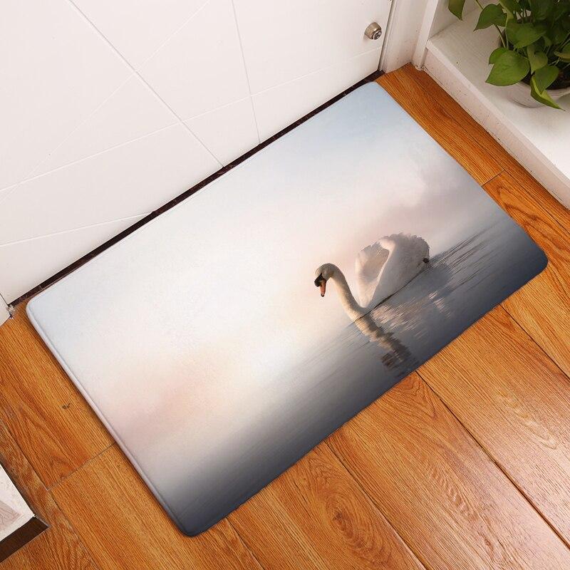 2017 Nieuwe witte zwanenprint tapijten antislip keukentapijten voor - Thuis textiel