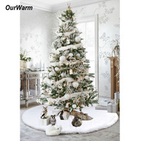 Ourwarm Christmas Tree Skirts 48inch White Faux Fur XMAS Tree Decoration Merry Christmas Supplies New Year Home Outdoor Decor