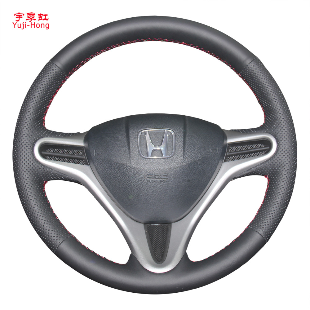 Car steering wheel covers case for honda jazz fit city fit 2008 2013 genuine leather